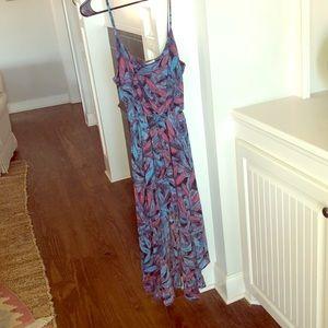 Super cute High low feather print dress